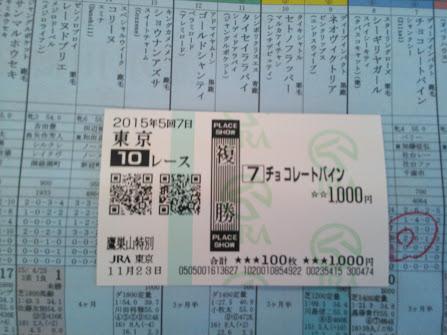 2015年11月23日東京競馬場馬券10R