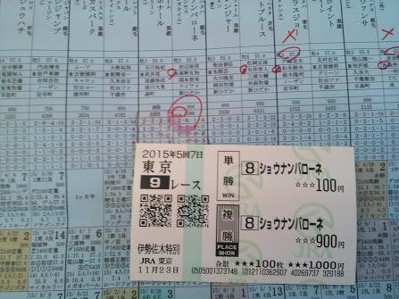 2015年11月23日東京競馬場馬券9R
