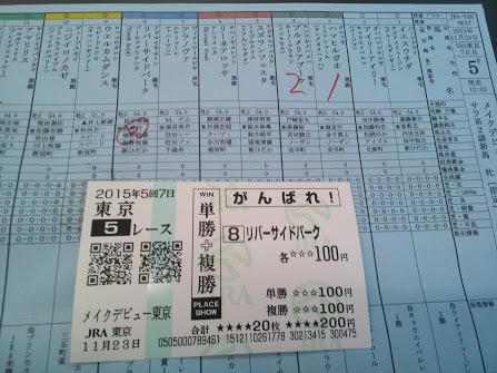 2015年11月23日東京競馬場馬券5R