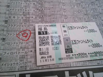 福島記念2015馬券
