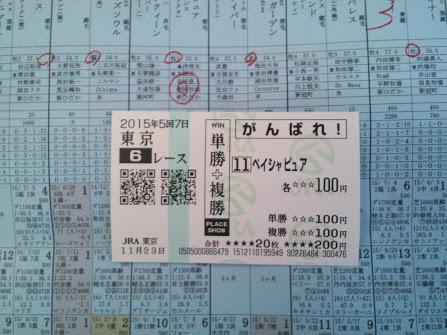 2015年11月23日東京競馬場馬券6R