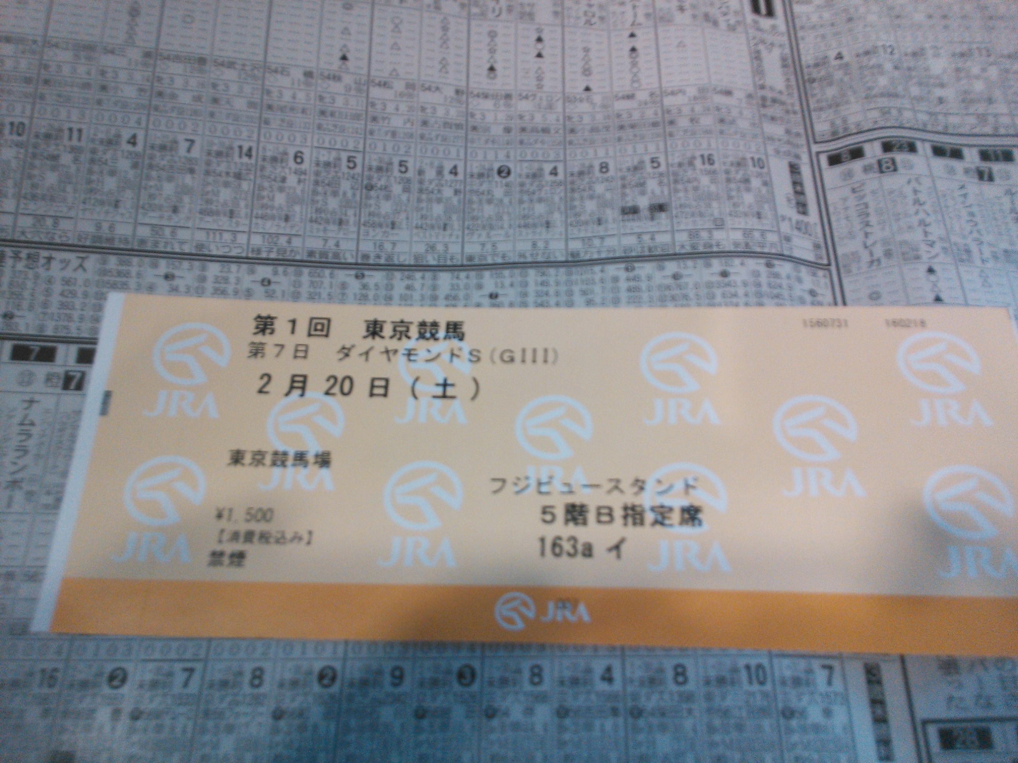 2016年2月20日(土)東京競馬場指定席チケット