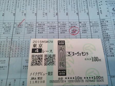 2015年11月23日東京競馬場馬券4R