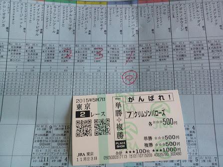 2015年11月23日東京競馬場馬券2R