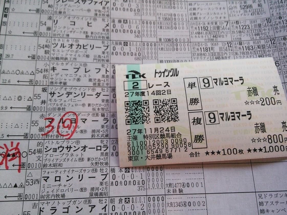 2015年11月24日大井競馬場馬券2R