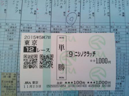 2015年11月23日東京競馬場12R馬券