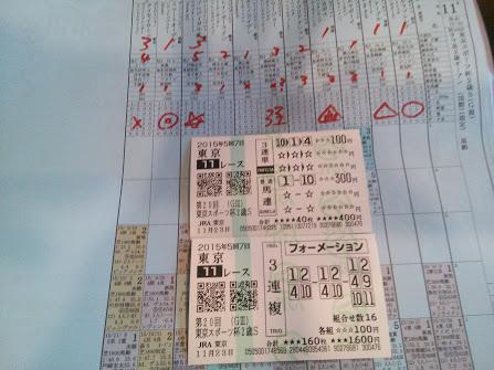 2015年11月23日東京競馬場馬券11R
