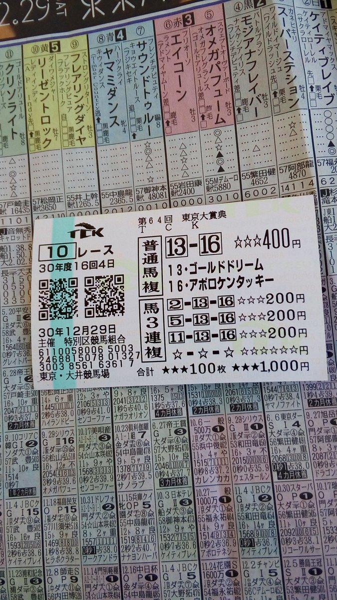 東京大賞典2018馬券