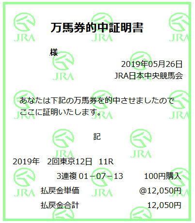 日本ダービー2019万馬券証明書