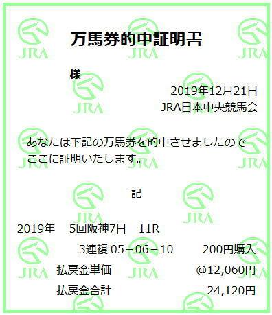 阪神C2019万馬券証明書